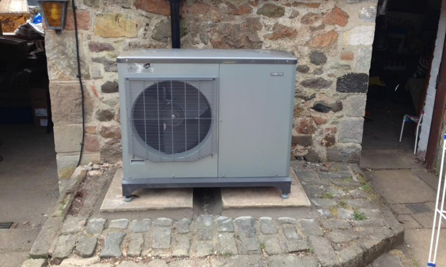 External ASHP unit in Drem, East Lothian