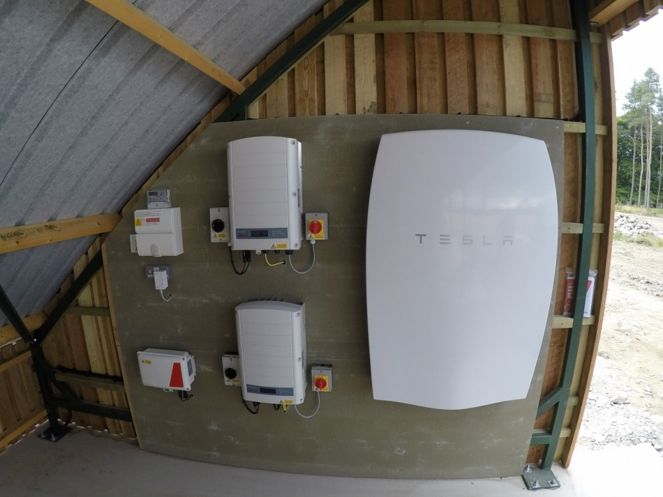 tesla battery installation with 10KW PV array
