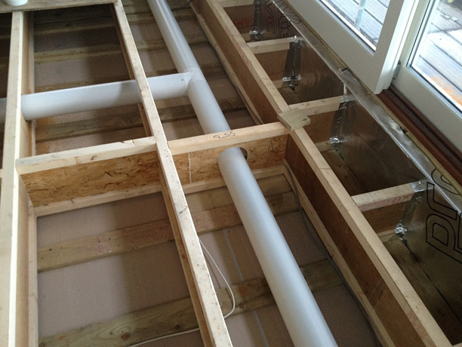 Standard HRV ducting being installed in a house in Northumberland