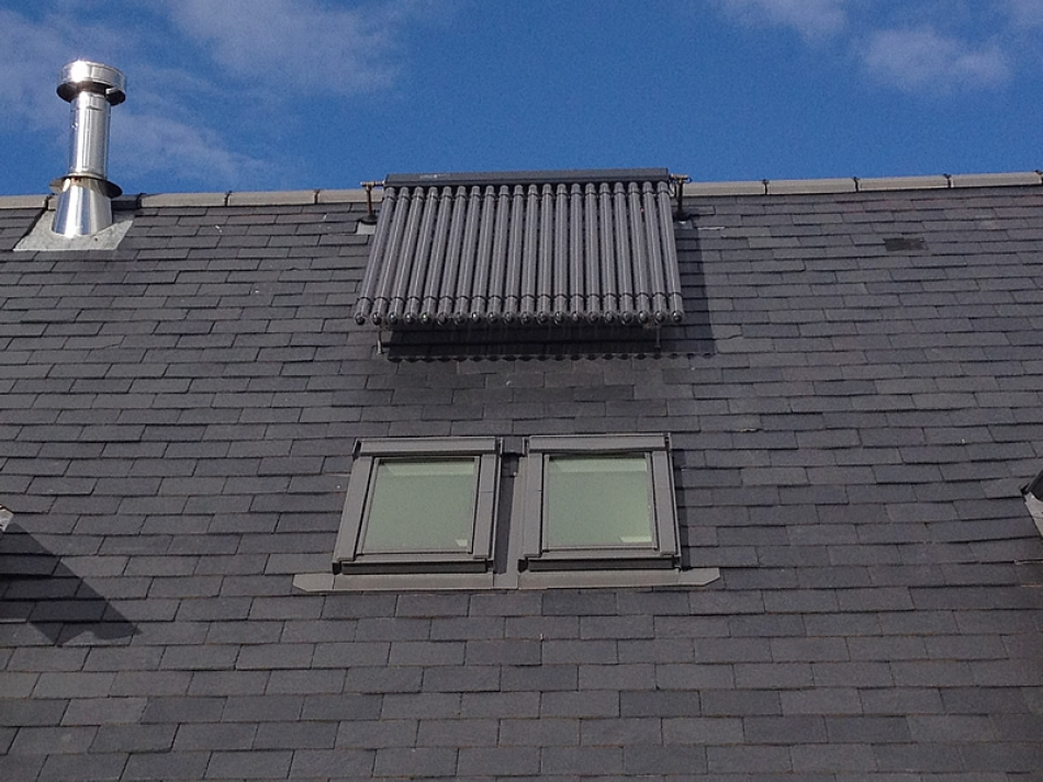 Solar Thermal evacuated tubes onset to a slate roof
