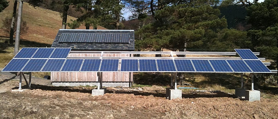 An off grid solar PV array